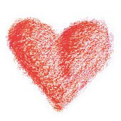 red crayon heart shape
