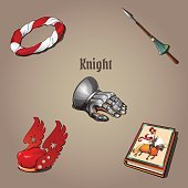 Knight set, part of the vestments, five items