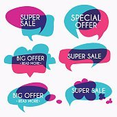Set of sale banners design. Sale paper banner.