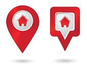 Location icon with house icons. Location marker symbol