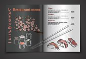 Vector vintage sushi restaurant menu illustration