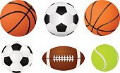 Basketball ball, soccer ball, tennis ball and american football ball