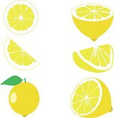 Lemon, lemon slices, set of lemons, vector illustrations