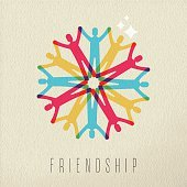Friendship concept diversity people color design