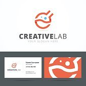 Emblem and business card template for creative studio.