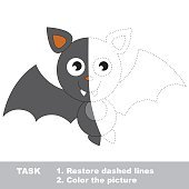 Vampire Bat to be colored. Vector trace game