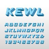 Isometric font. Vector alphabet with 3d effect letters and numbe