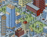 Downtown City Blocks with Office Buildings, Apartments and Large