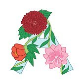Cute flower letter A. Floral monogram with vintage flowers beginning