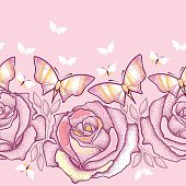 Seamless pattern with pink dotted roses, leaves and pastel butterflies.