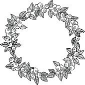 Frame - wreath. Berries and leaves. Vector isolated object