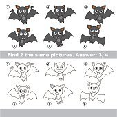 Visual game. Find hidden couple of Vampire Bats