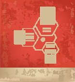 Database,network design on red background,grunge vector