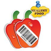 Icon Paprika with barcode by healthy food