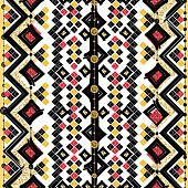 Seamless patterns, white, black, gold, zigzag lines