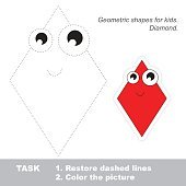 Diamond to be traced. Vector trace game