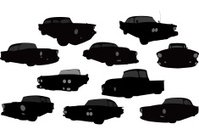 Vector Silhouette of 1950's Vehicles