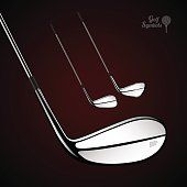 Golf sticks on the dark background as vector design elements