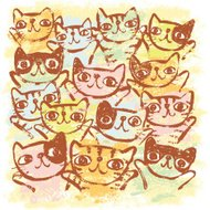 sketch of many cats