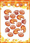 Education counting game for preschool kids with baking.