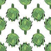 vector illustration of artichoke, organic vegan background, healthy food seamless