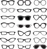 Drawn glasses vector set