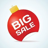 Big Sale Christmas Ball Sticker tags with text