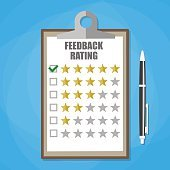 clipboard with five stars feedback rating