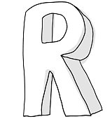 Alphabet font R   hand drawn
