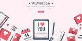Vector illustration. Flat background with tablet. Love, hearts. Valentines day