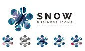 Set of abstract colorful snowflake logo icons, winter concepts, clean