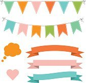 Set of multicolored flat buntings garlands, ribbons and speech bubble