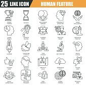 Thin line icons set of various mental features of human brain