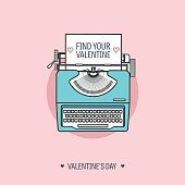 Vector illustration. Flat background with typewriter. Love, hearts. Valentines day