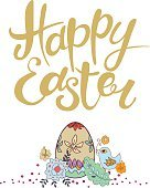 Happy Easter vector lettering. Typographical Background with dec