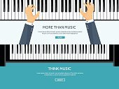 Vector illustration. Musical flat background. Piano key, keyboard. Melody. Instrument