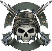 skull with army helmet crossing assault rifles with bayonets