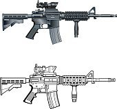 american m4 ar-15 automatic assault rifle