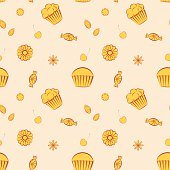 Hand drawn vector seamless patterns with cupcakes, candies and cookies