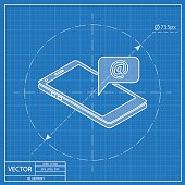 smart phone message 3d isometric blueprint icon