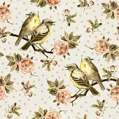 Vintage seamless background with retro birds in the garden