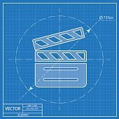 film clapperboard vector blueprint icon
