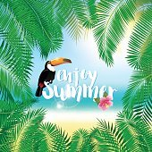 Summer poster with palm leaves, seashore, flower hibiscus and toucan.