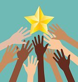 Group of Diversity Hand Reaching For The Stars, Success Metaphor
