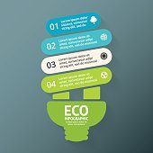 Energy efficient light bulb. Vector arrows green eco infographic. Ecology