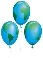 Fragile Earth Balloons Three Different Views