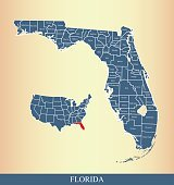 Florida county map outline vector illustration