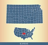 Kansas county map outline vector illustration in creative design