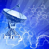 dishes antenna & blue technology background
