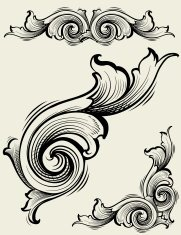 Engraved Element Set of Scrollwork
